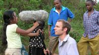 Soundman, Tyler Gibbons, with Roshika, Little Grace and her brothers near Gititu, Kenya